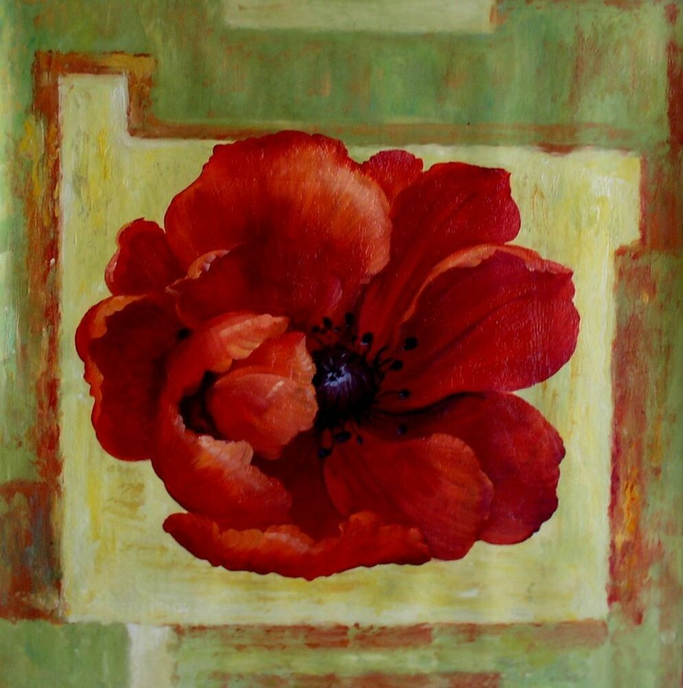 Giant Red Poppy Series 3, Ex. Large Modern Hand Painted ...