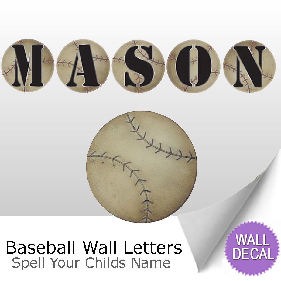 wall letter alphabet initial sticker vinyl stickers decals name sports baseball ebay. Black Bedroom Furniture Sets. Home Design Ideas