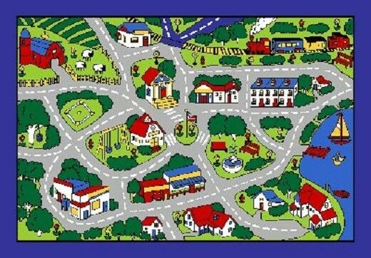 street map grey school classroom car play large area rug 4