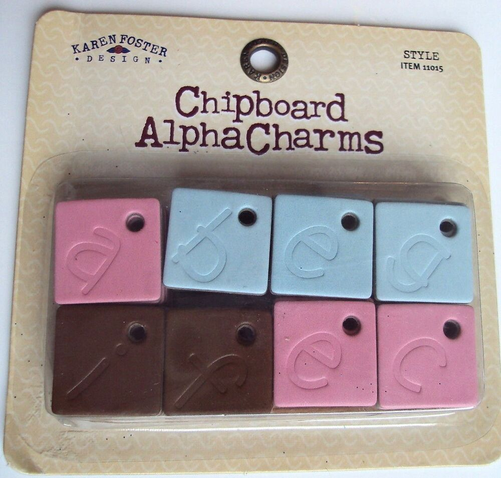 Karen foster chipboard alpha charms alphabet ebay for Where to buy chipboard letters