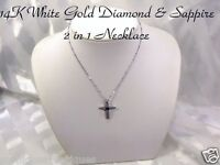Diamond & Sapphire Cross 14k White Gold - Italy