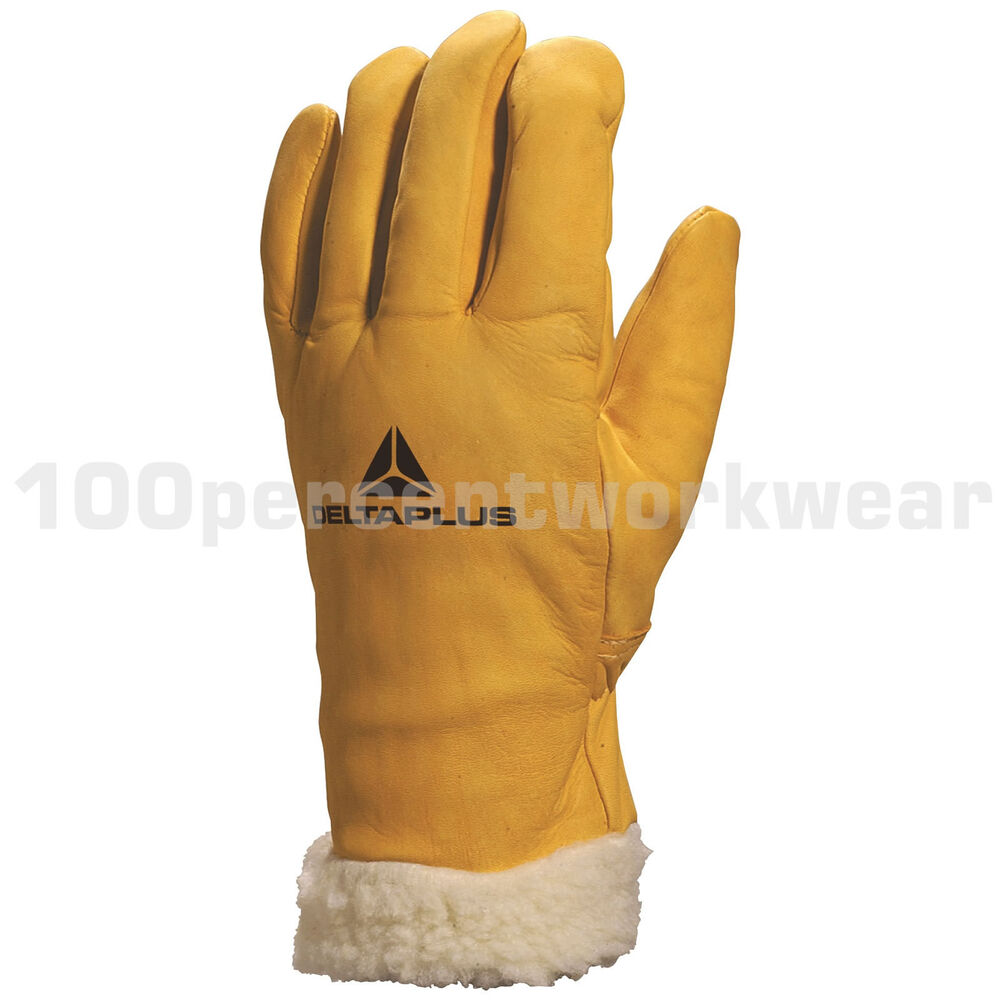 Leather work gloves ebay - Leather Work Gloves Skiing Fbf15 Fur Lined Leather Ski Gloves Work Winter Cold Driving Ebay