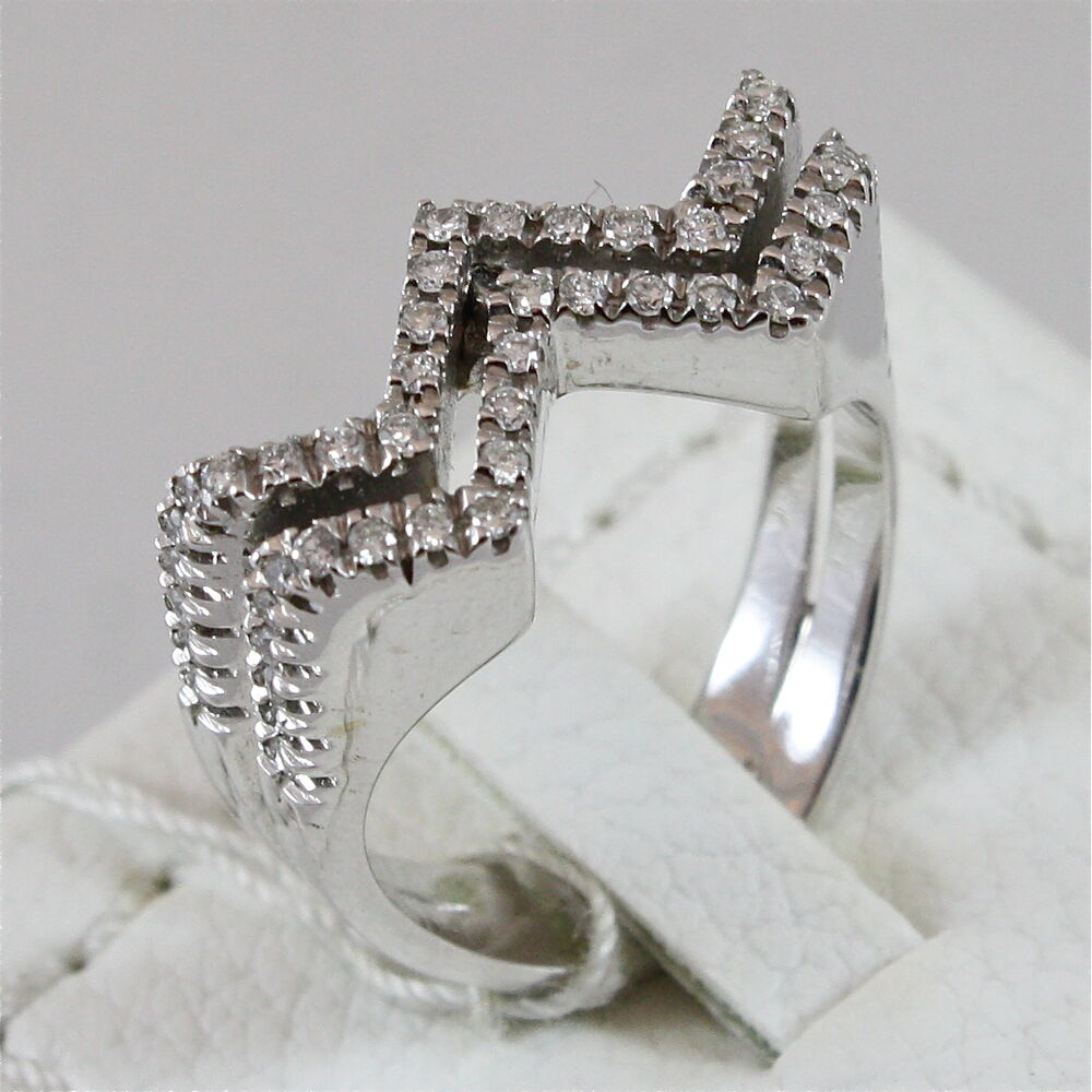 18k 750 white gold ring with diamonds made in italy ebay. Black Bedroom Furniture Sets. Home Design Ideas