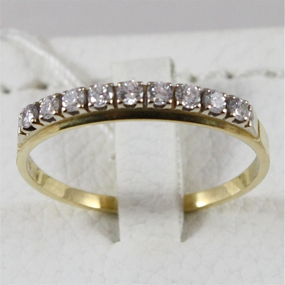 18k 750 yellow gold eternity ring with diamonds made in italy ebay. Black Bedroom Furniture Sets. Home Design Ideas