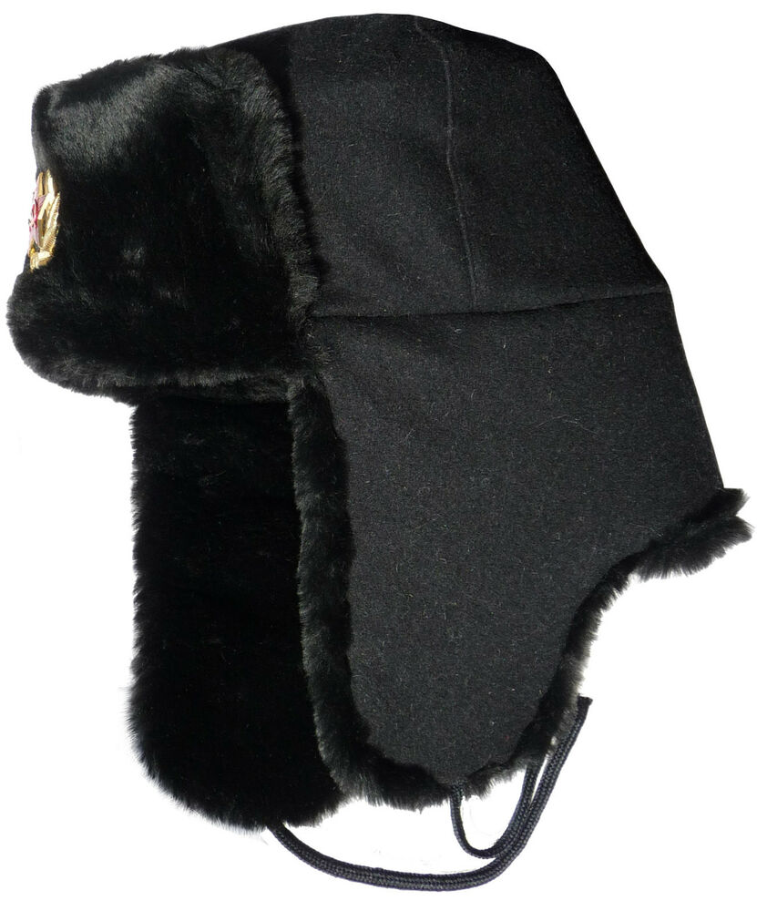 Details about Russian Navy seaman ushanka winter hat. Black wool top.  Trapper Bomber EarFlaps 127343815c2