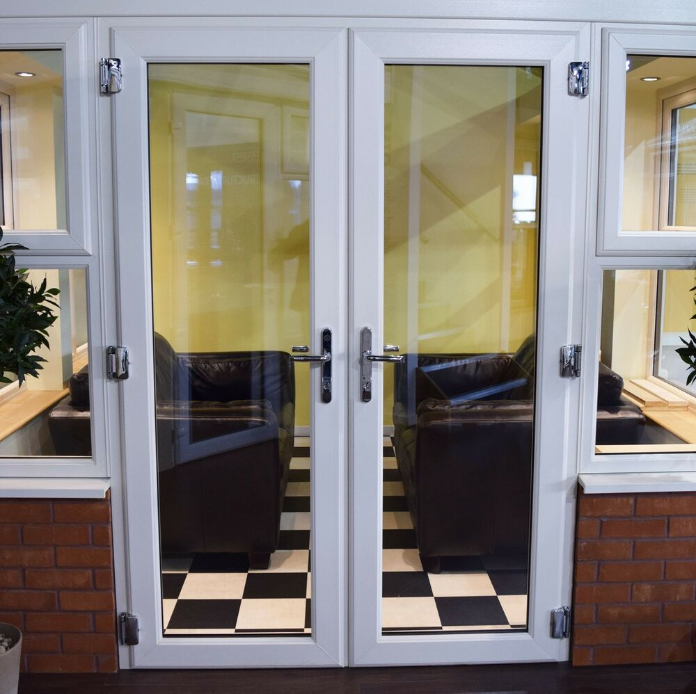 White french double doors virgin white upvc brand new for Double opening french patio doors