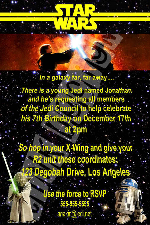 star wars invitation birthday party favor yoda r2d2