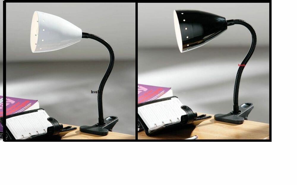 Flexi Flexible Clip On Desk Table Lamp Light Metal Shade