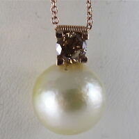 18K 750 ROSE GOLD NECKLACE BROWN DIAMOND AND CREAM SOUTH SEA PEARL MADE IN ITALY