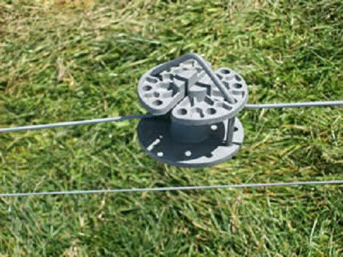 Round daisy wheel style in line wire fence tightener and