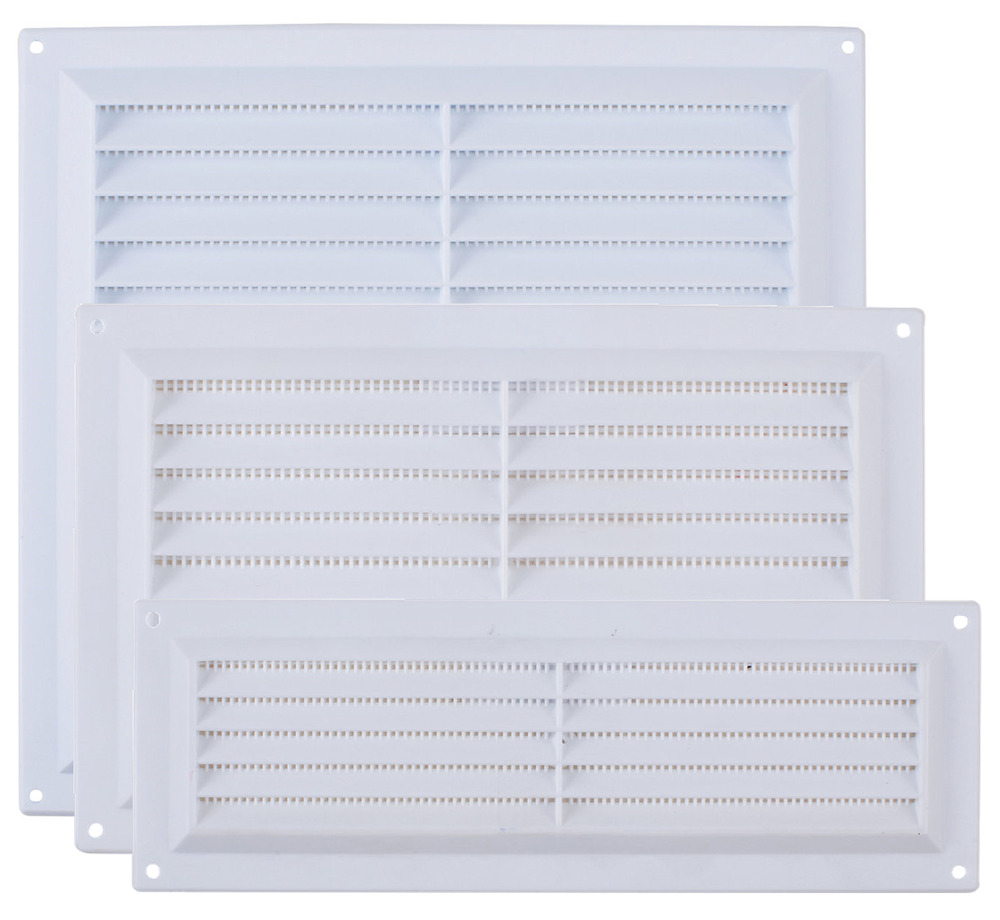 plastic louvre air ventilator ventilation vent grille cover white fly mesh ebay. Black Bedroom Furniture Sets. Home Design Ideas