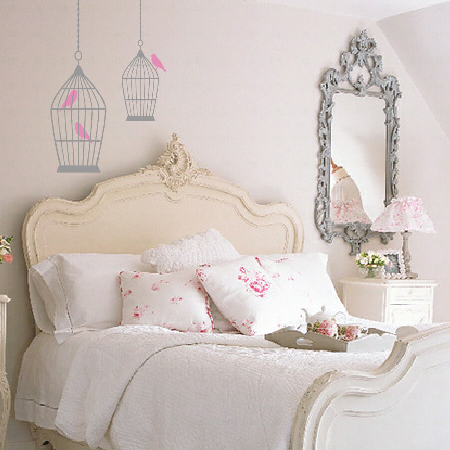 Bird cage vintage shabby chic syle wall art sticker decal for Shabby chic wall art