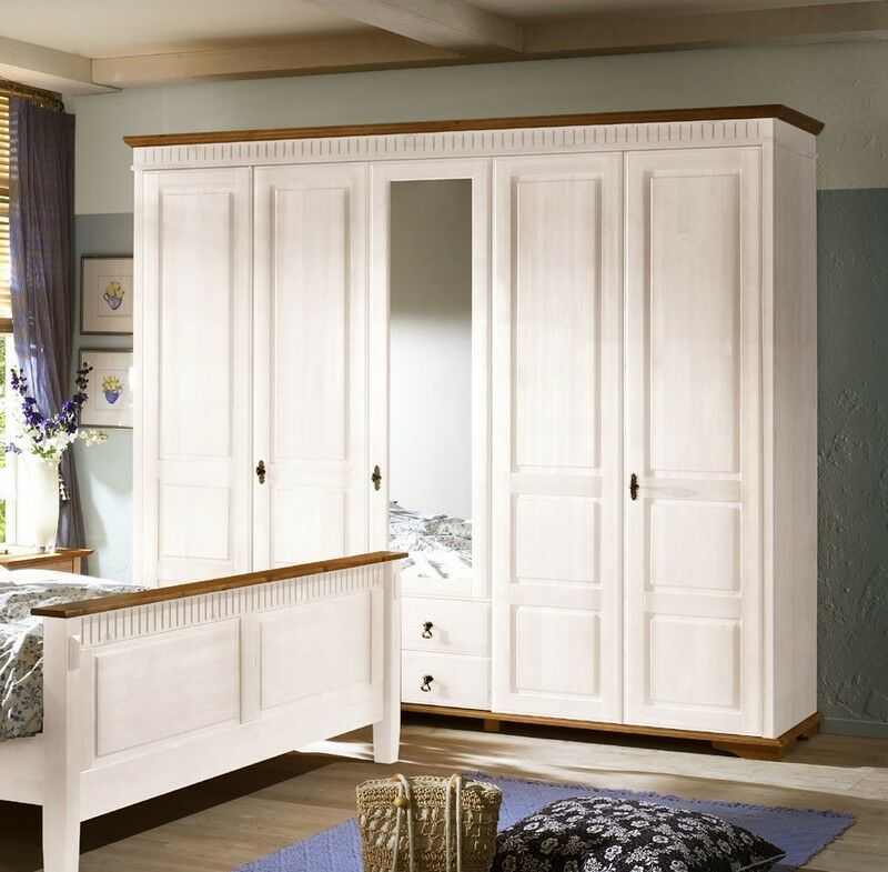 sevilla kleiderschrank 90 25 schrank 5 t rig landhaus kiefer massiv weiss ebay. Black Bedroom Furniture Sets. Home Design Ideas