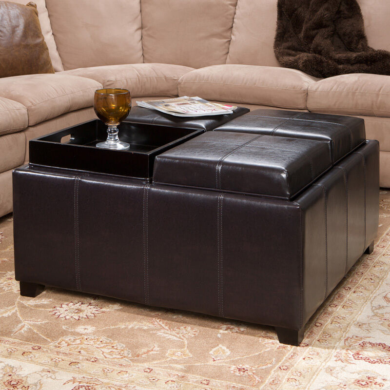 Coffee Table Footrest Storage: 4-Tray-Top Espresso Brown Leather Storage Ottoman Coffee