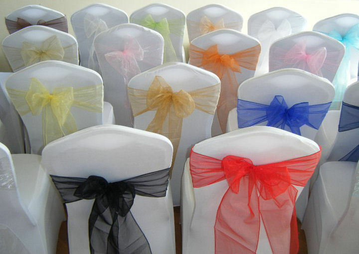 CHAIR COVER SASHES BOWS ORGANZA NEW UK FOR WEDDINGS BEST