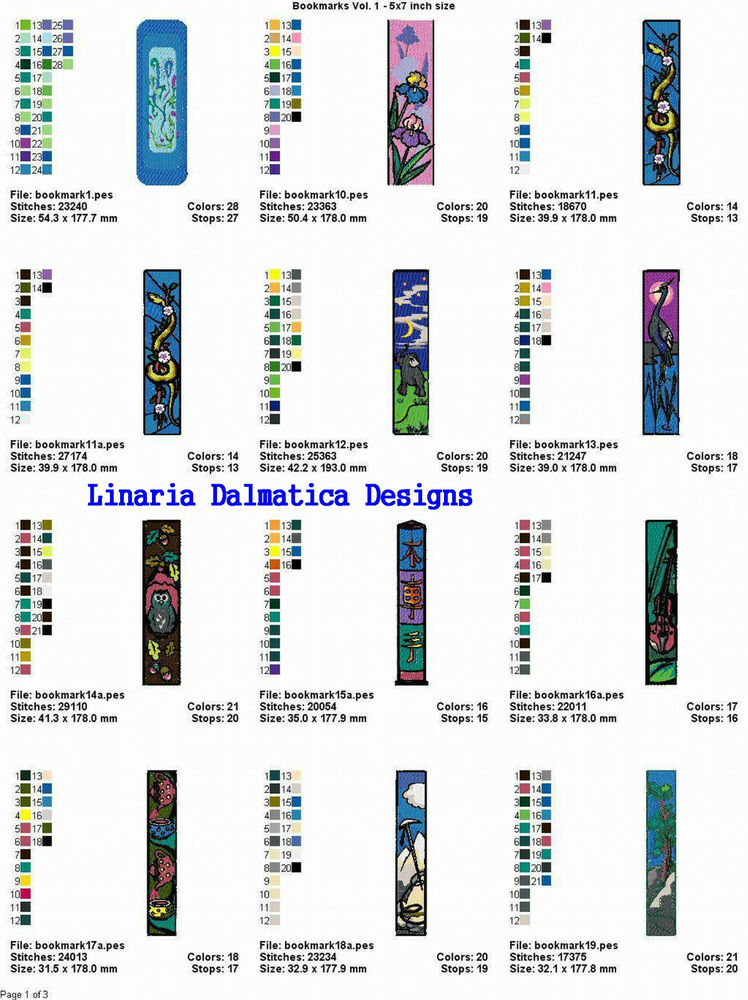 Bookmarks 5x7 ld machine embroidery designs ebay for Embroidery office design version 7 5