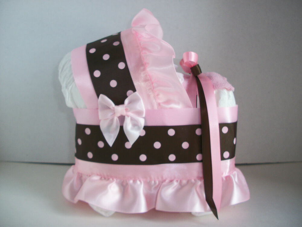 brown girl diaper bassinet carriage baby shower centerpiece ebay