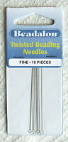 10 'Beadalon' Twisted Fine Beading Needles (0.23 mm diameter)