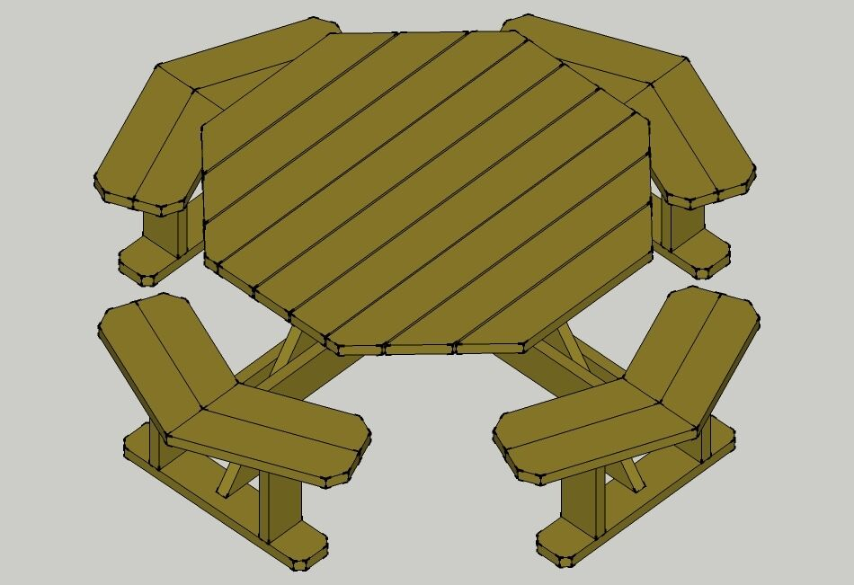 Traditional Octagon Picnic Table Plans--Easy to do!! W/without ...