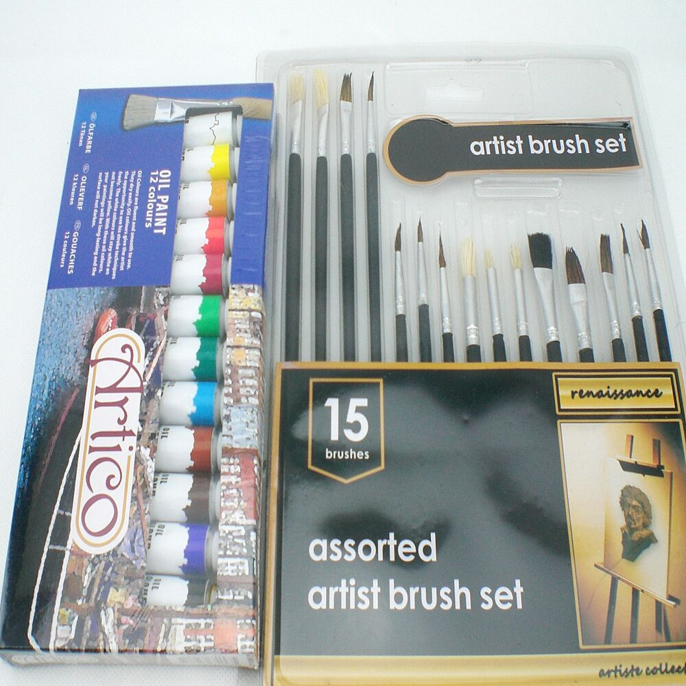 24pc artists oil paints set hobbies crafts model making for Canvas painting supplies
