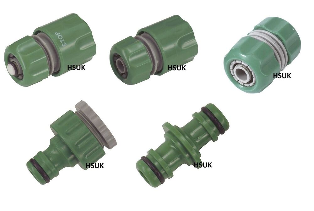 Garden hose fitting male female adapter water stop threaded tap connector ebay for Male to male garden hose adapter