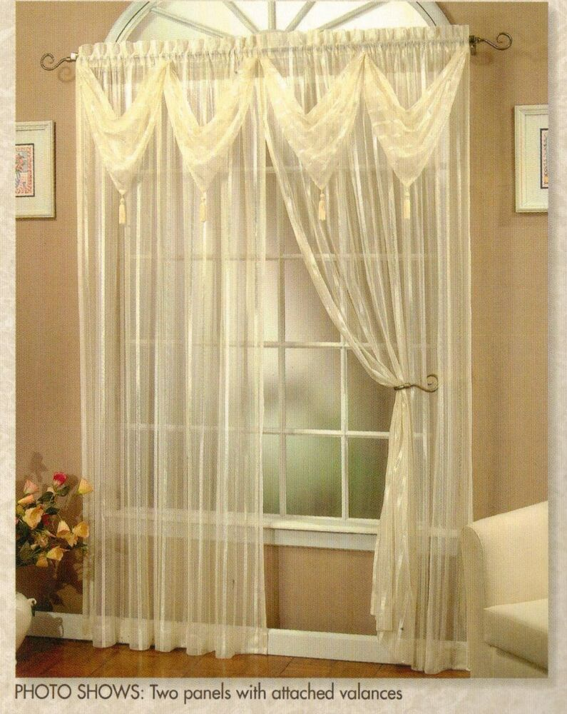 Daphne Striped Sheer Sage Panel With 2 Attached Valances