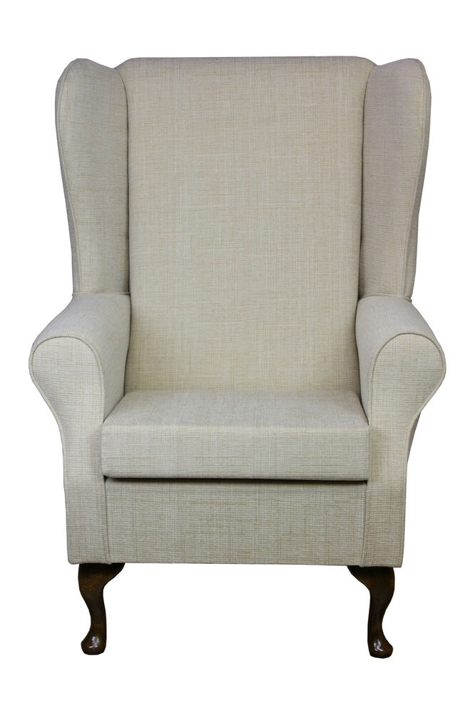 High Back Armchair Fireside Wingchair Upholstered In A
