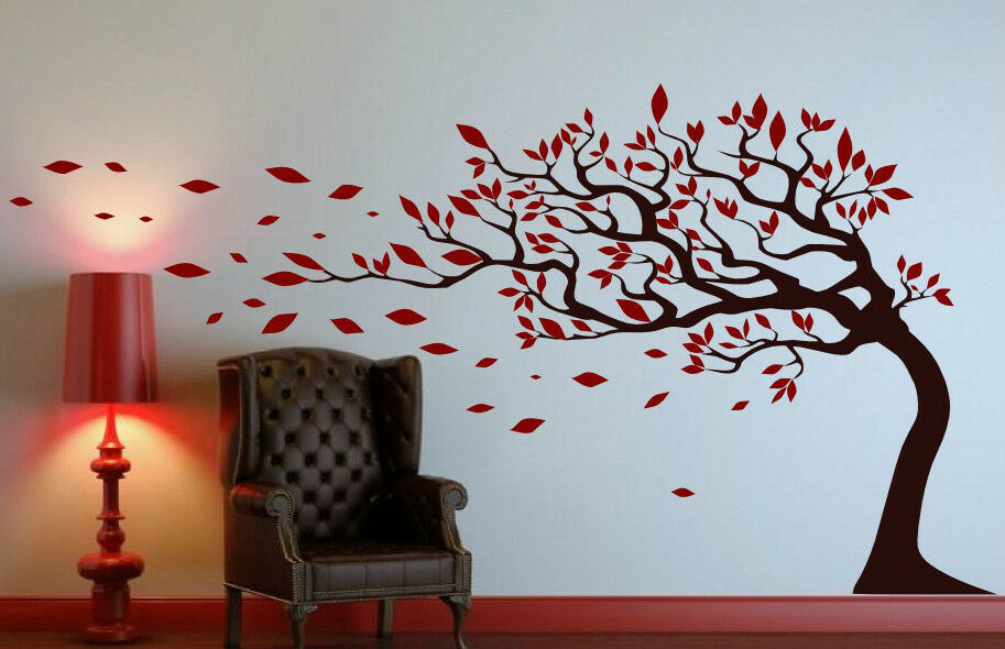 Tree with leaves blowing in the wind amazing wall stickers for Stickers para habitaciones juveniles