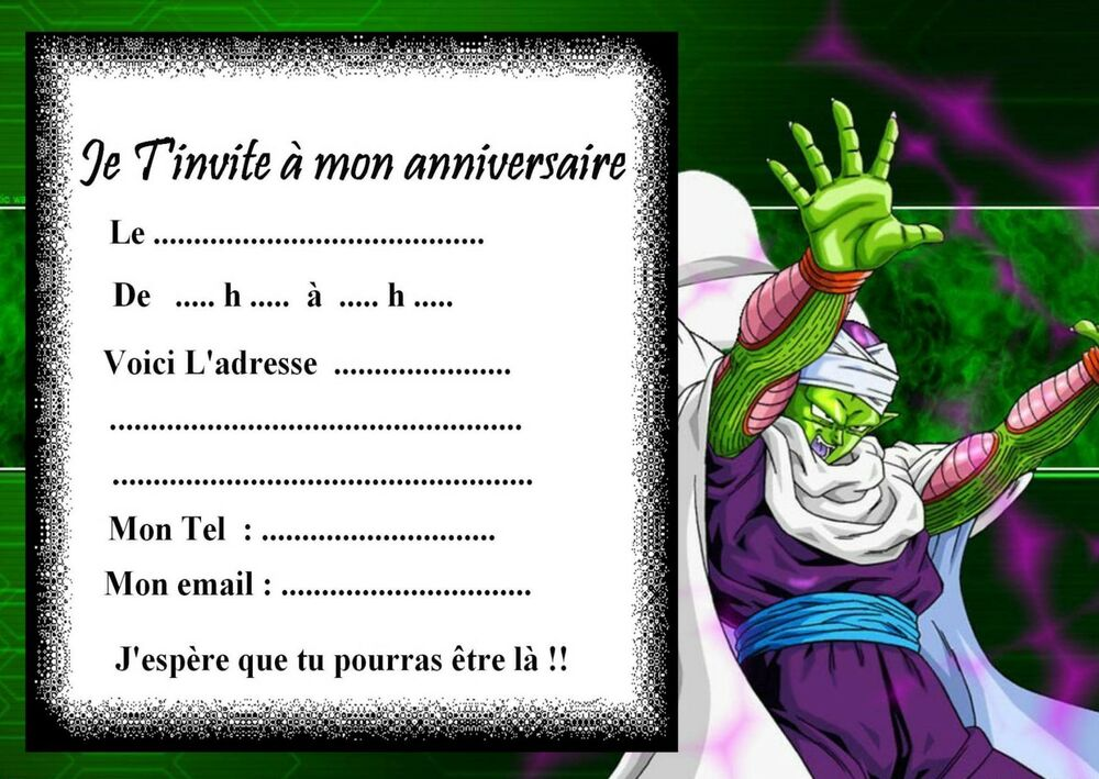 5 cartes invitation anniversaire dragon ball z 03 manga ebay - Dragon images gratuites ...