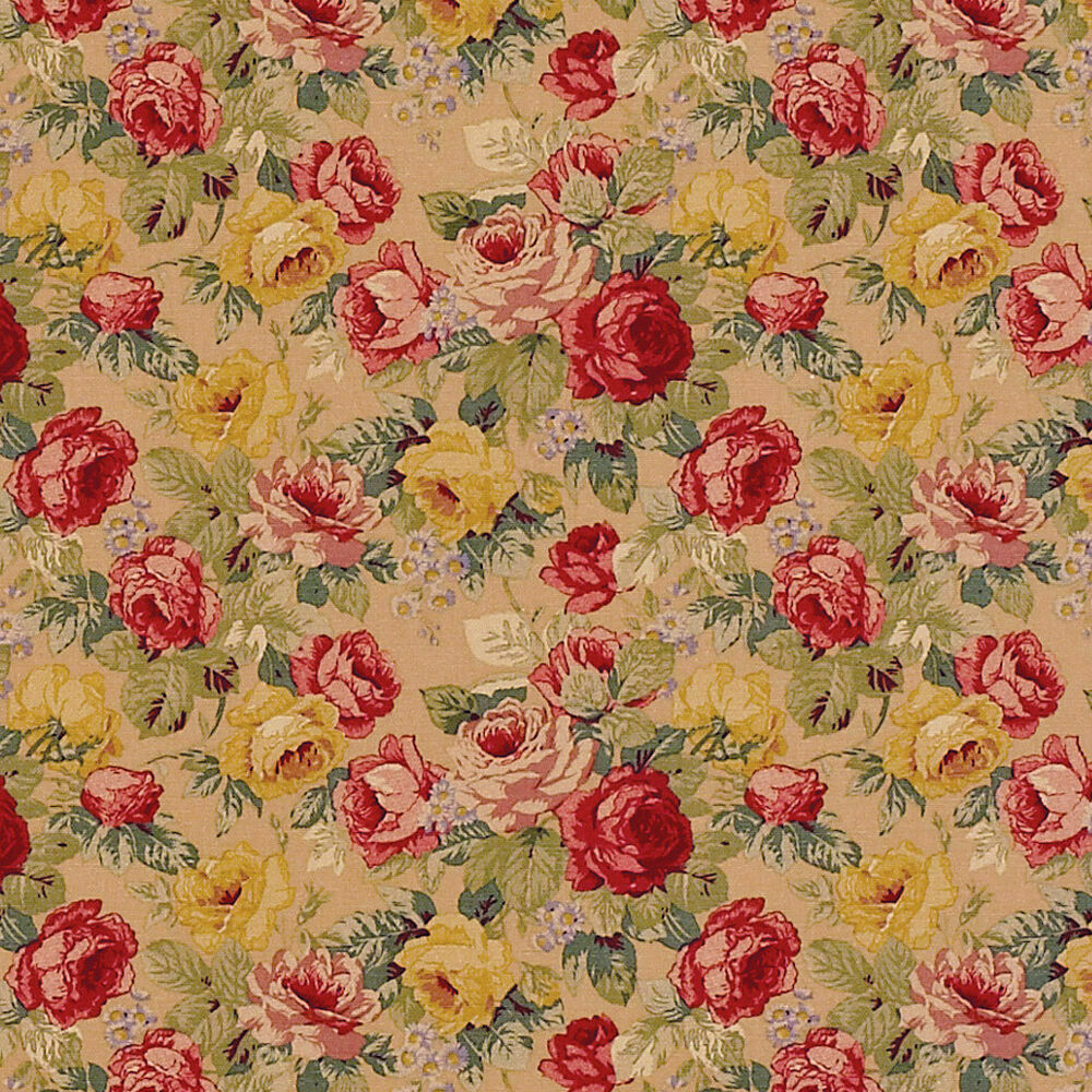 Cotton retro antique chic curtain upholstery fabric rose for Floral upholstery fabric