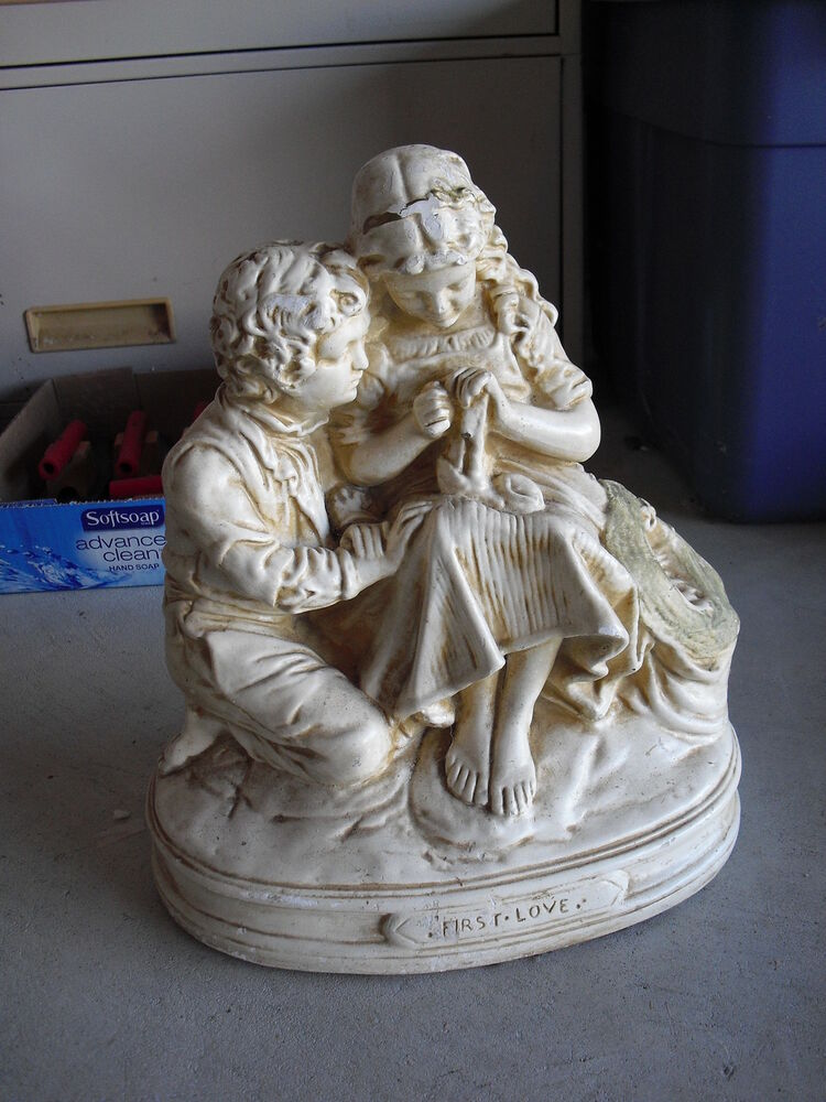 big vintage ceramic boy and girl first love statue 14 tall look ebay. Black Bedroom Furniture Sets. Home Design Ideas
