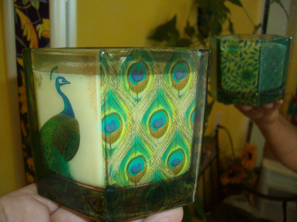 Pier 1 Imports Peacock Glass Vase Candle Holder With Scented Candle Ebay