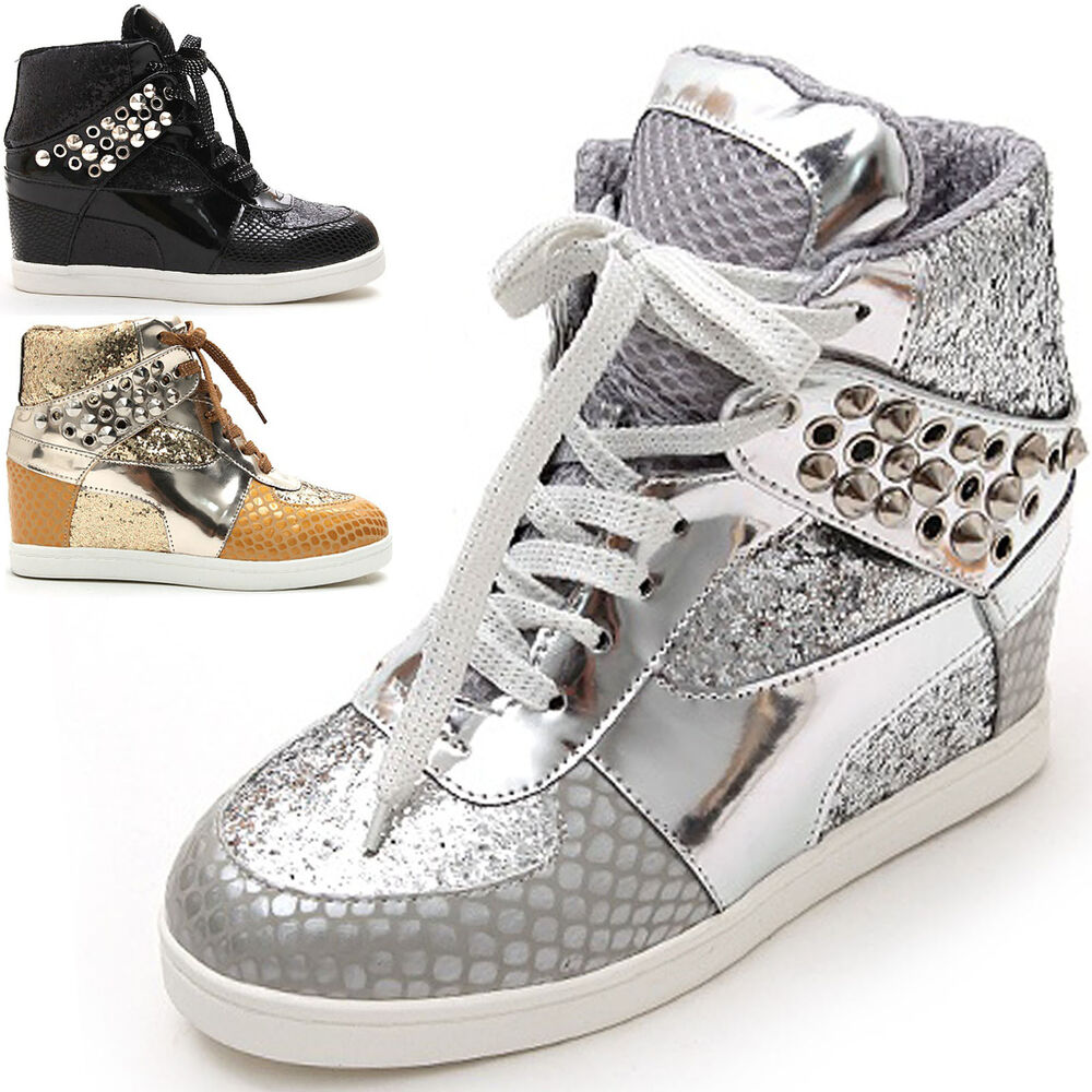 Woman Sequin Sparkle Glitter Shoes Stud Studed Spike High