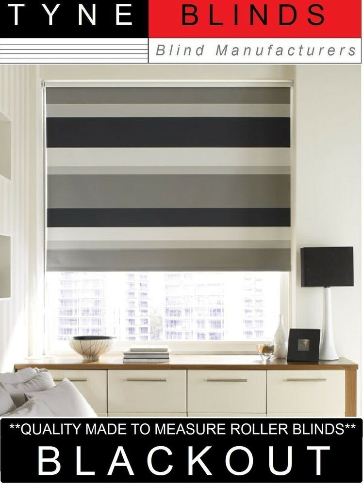 Quality Blackout Roller Blinds Made To Measure Striped