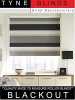 Quality BLACKOUT ROLLER BLINDS Made to measure STRIPED BLACK GREY WHITE SILVER