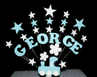 Christening or Birthday Train and Star Cake Topper