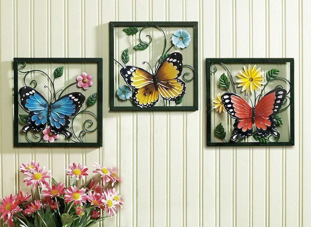 3 pc framed crafted 3d metal butterfly in blossom flower set wall art decor ebay. Black Bedroom Furniture Sets. Home Design Ideas
