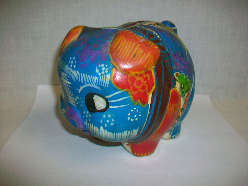 Vintage ceramic wildly painted pig piggy bank 6 long ebay for How to paint a ceramic piggy bank