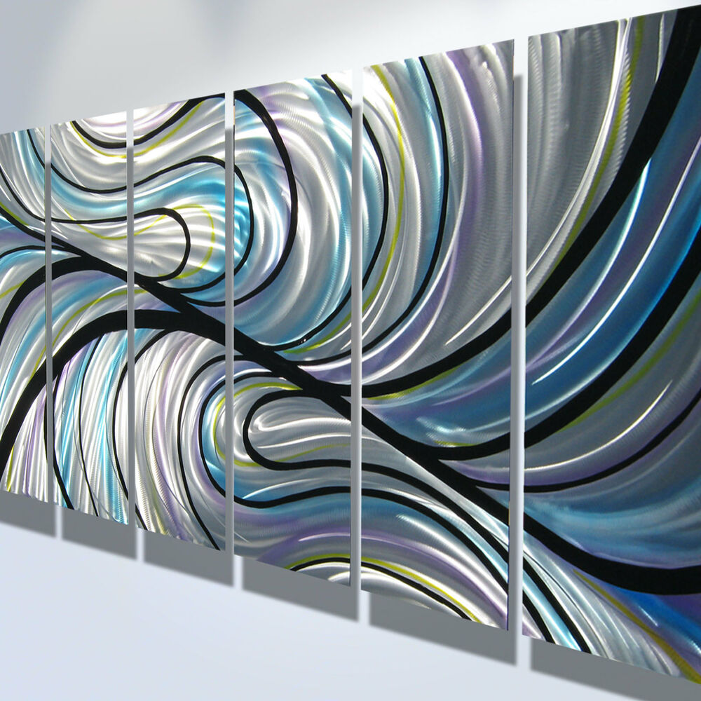 Sold Original Abstract Painting Pearl White Blue Wall Art: Abstract Metal Wall Art Contemporary Modern Decor Original
