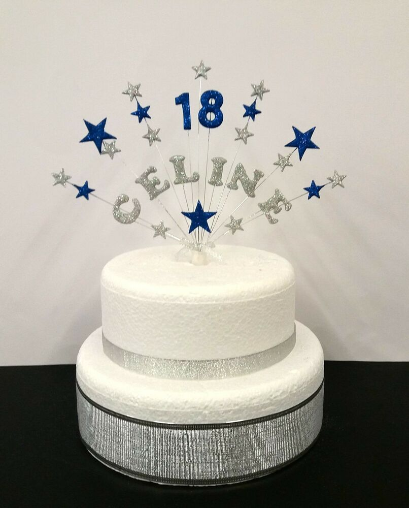 Personalised Glitter Star Name And Age Birthday Cake