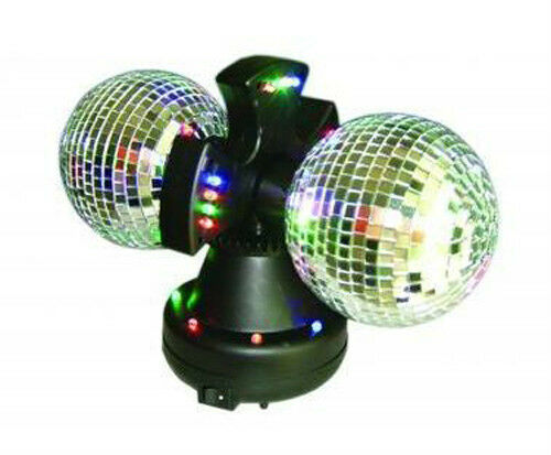 Twin Mirror Rotating Disco Ball Dj Party Led Light Lamp Ebay