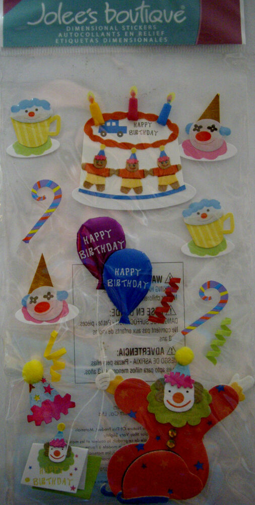 New 13 Pc Clown Birthday Cake Balloons Cupcake Ice Cream Jolees 3d