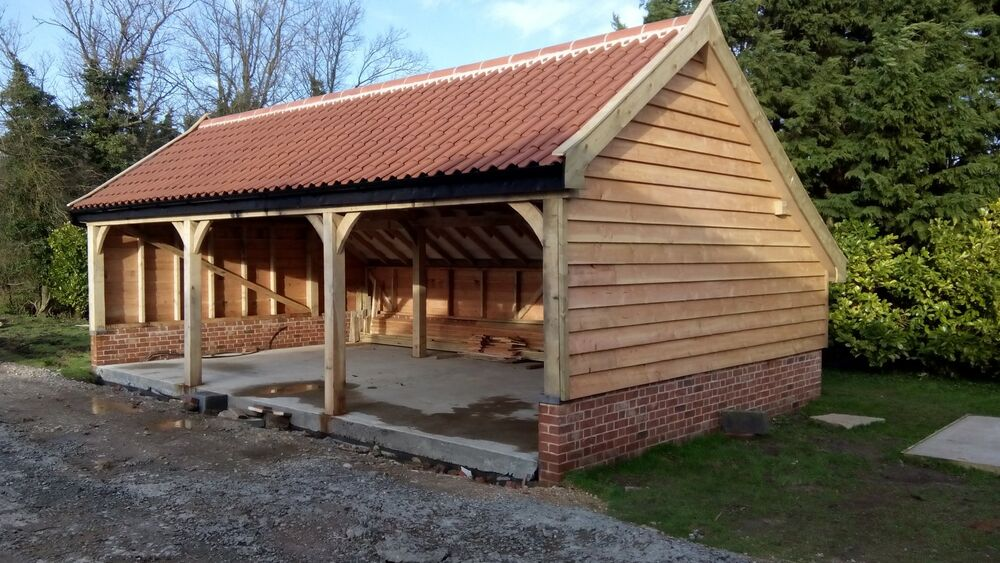 Green oak framed garage 3 bay cart lodge full oak frame for 4 car garage prices
