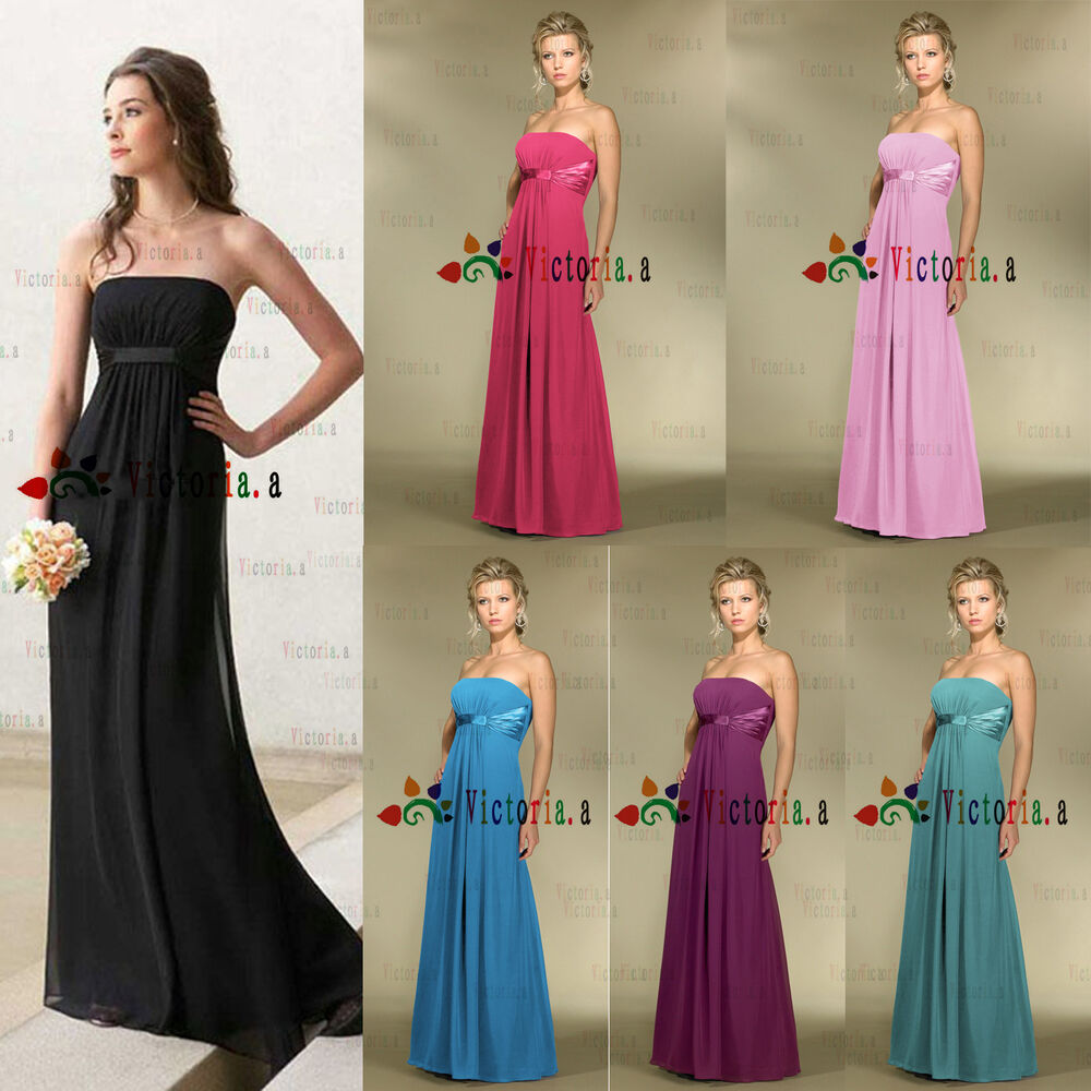 Stock chiffon wedding gown prom bridesmaid evening dresses for Ebay wedding dresses size 6