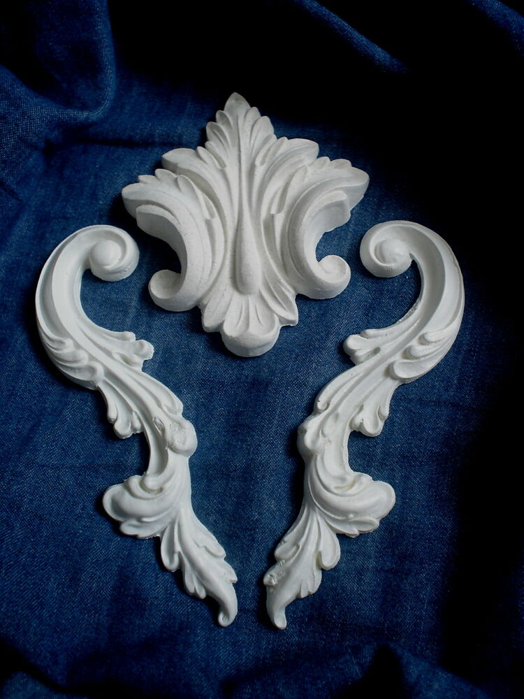 Ornate Architectural Mouldings : Ornate scrolls and leaf decorative cuboard mouldings white