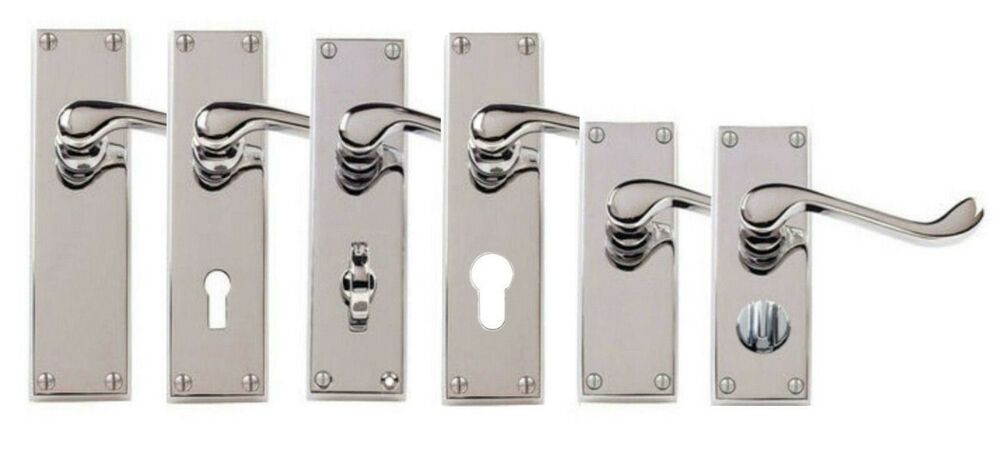 Polished Chrome Victorian Scroll Door Handles Lock Latch