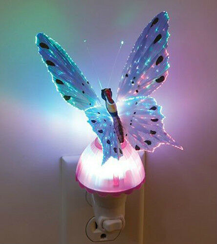 fiber optic butterfly led color change night light lamp. Black Bedroom Furniture Sets. Home Design Ideas