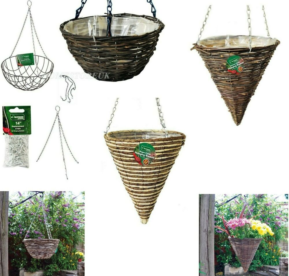 Wall Hanging Basket With Chain Flower Garden Patio Planter