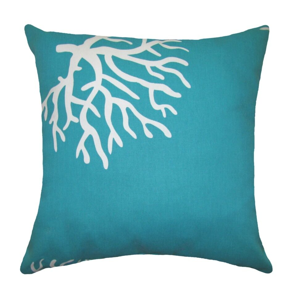 Coral turquoise premier prints coral true turquoise for Decor pillows
