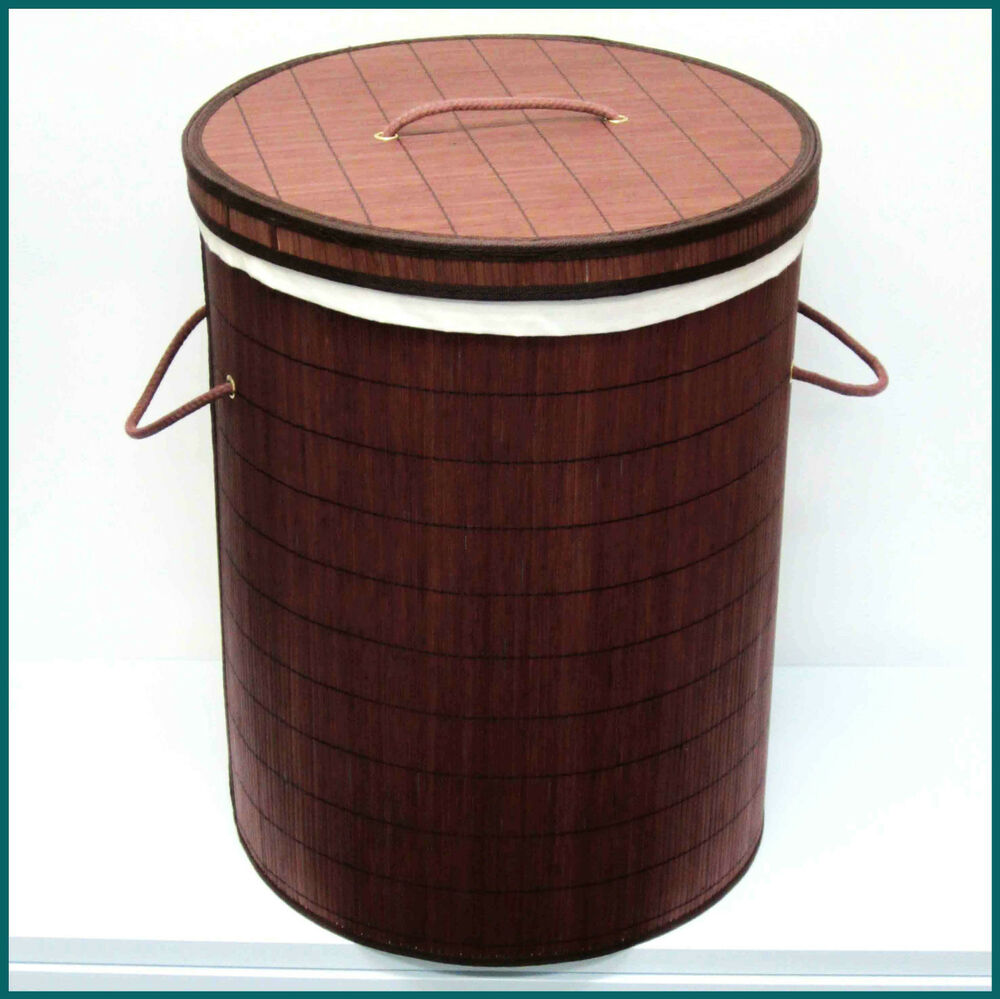 Large Bamboo Laundry Hamper Clothes Basket Brand New